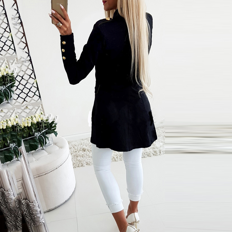Lossky Women Jacket Blazers Slim Lady Office Wear Outwear Long Sleeve Stand Collar Formal Suit Long Black Red Autumn Spring Coat 4
