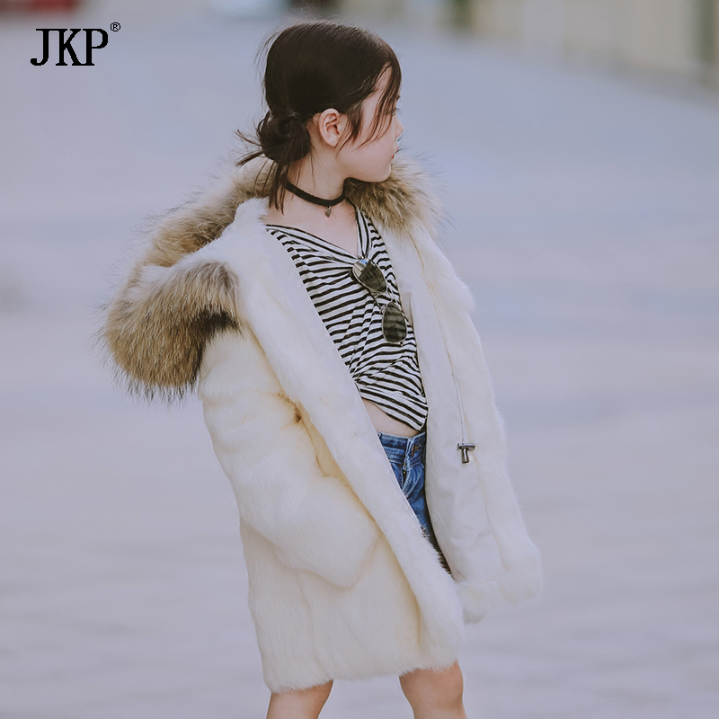 JKP 2018 new Children's fur coat 2018 winter new girl rabbit fur hooded thick coat tide fur long  Outerwear coat jacket CT-11 new winter women long style down cotton coat fashion hooded big fur collar casual costume plus size elegant outerwear okxgnz 818