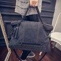 Moda hombro bolsa Grande de las mujeres Remache Bolsas de Asa Superior de cuero de lujo bolsos mujer bolsos diseñador crossbody messenger bag