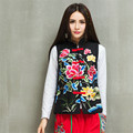 National Punk Jacket Autumn Mandarin Collar Women New Fashion Coat Sleeveless Floral Embroidered Black Casual Cotton Linen