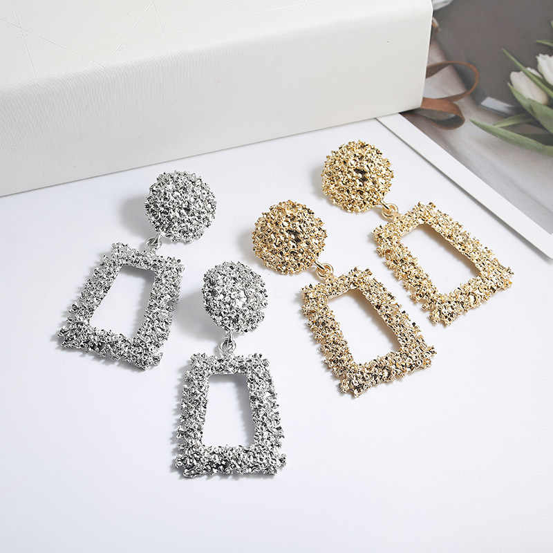 Big Vintage Earrings for Women Gold/Silver Geometric Statement Earring 2019 Metal Earing Hanging Fashion Jewelry Party Gift