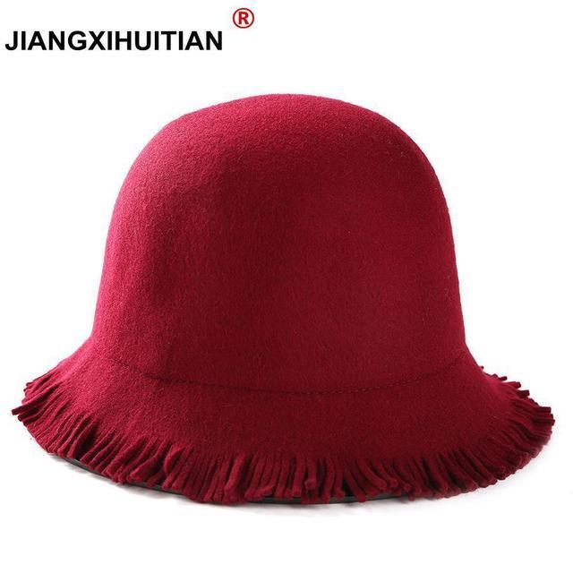 497582cad6c England Style Ladies Wool Fedoras Hats Black White 100%Wool felt Hat  Fashion Women Church maison michel Cloche Hat Cap