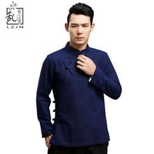 LZJN Black Flax Blouse for Men Traditional Chinese Clothing Long Sleeve Mandarin Linen Shirt Ethnic Blusas Masculina Chemise