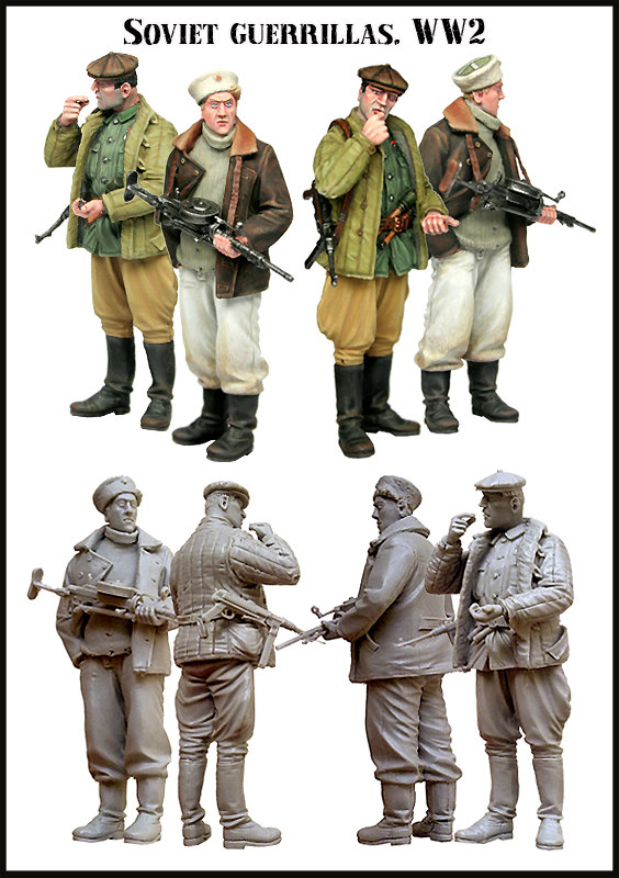 Scale Models 1/ 35  Soviet Guerrillas Include 2 Soldiers   Figure Historical  Resin Model