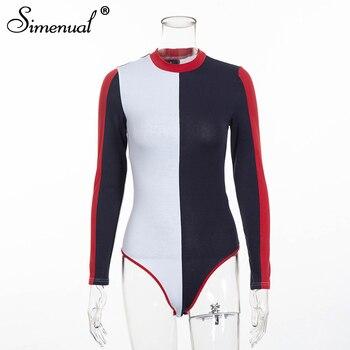 Simenual 2019 Autumn patchwork bodysuit women clothing fashion streetwear long sleeve bandage sexy bodysuits female one piece 1