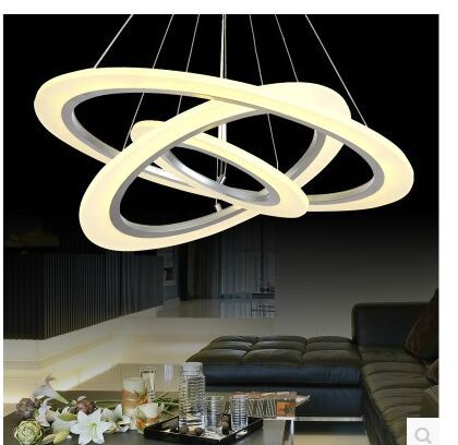 Dimming control ED integrated Size: 3RIMG 100 + 80+ 60 cm  LED Acrylic Ring Chandelier 110-240V