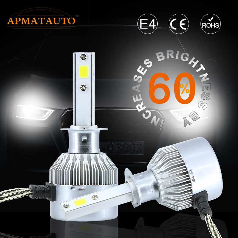 2X Fog Day Light Headlight H1 H3 H4 H7 H8 H9 H11 9005 HB3 9006 HB4 880 881 H27 9012 LED Headlamp Kit Bulb 16000LM 6000 K putih