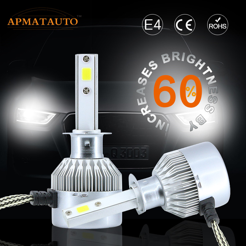2X White Car LED Headlight 100W 16000LM H1 H3 H4 H7 H8 H9 H11 9005 HB3