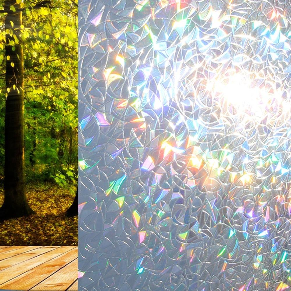 45*100 Cm Vinyl Rainbow Decorative Window Film For Home Door,opaque Stained Privacy Glass Film.heat Insulation Window Decals