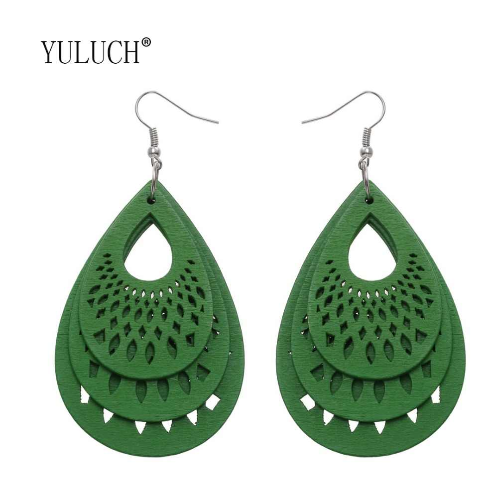YULUCH Simple Droplet Hole Hollow Pendant Earrings For Women Luxury Wood Jewelry Accessories For Girls Party Wooden Earrings