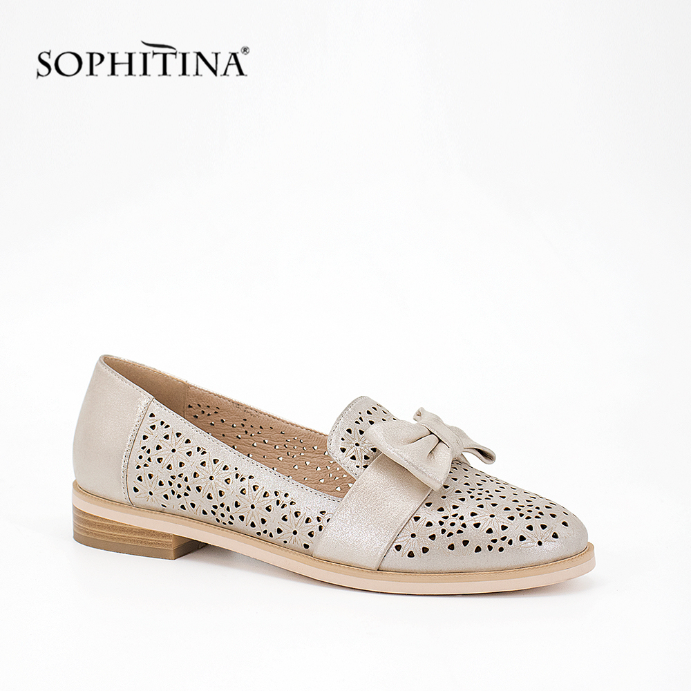 SOPHITINA Elegant Woman Flats Hollow Genuine Leather Round Toe Lady Shoes Butterfly knot 2019 Autumn Fashion