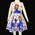 Meninas Vestido de verão 2017 Nova Marca Sofia Vestido de Princesa Roupa Dos Miúdos Trajes Vestido Roxo Branco Crianças Vestidos Para Criança 2-8 T