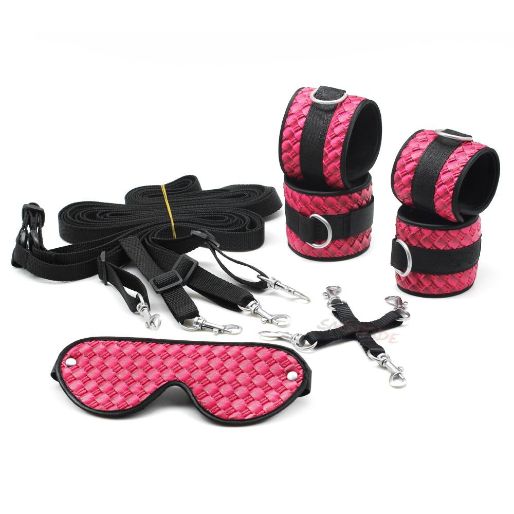 Buy Smspade pink PU bondage restraints kit, bed bondage kit, fetish hog-tied kit, handcuffs ankle cuffs blindfold fabric belt