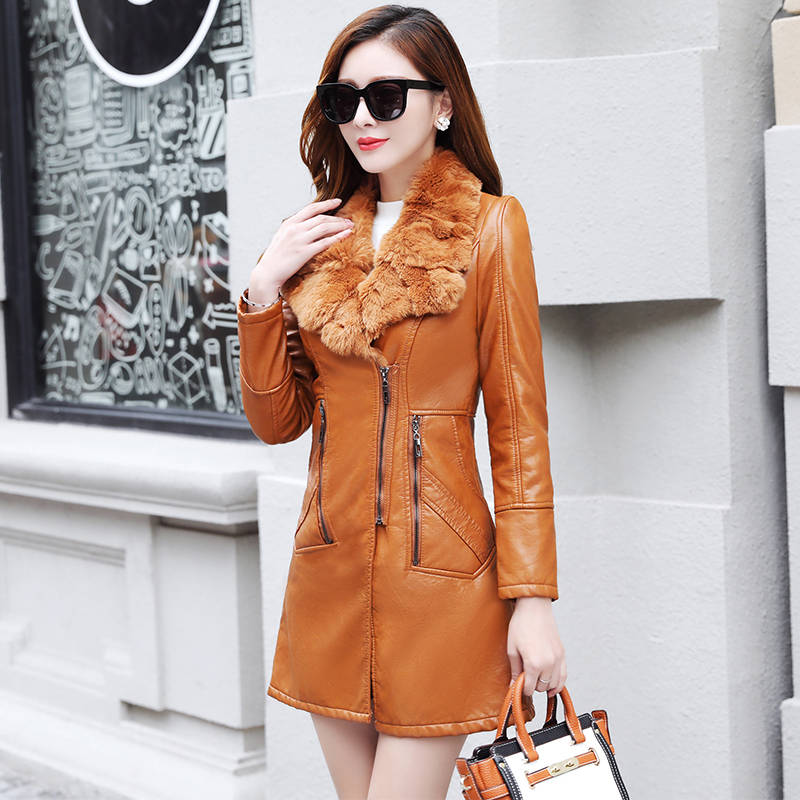 2019 Female Long Sleeve   Suede   Fur Jacket Motorcycle Jacket Elegant Ladies Winter Coat Women Long Fur Collar   Leather   Jacket