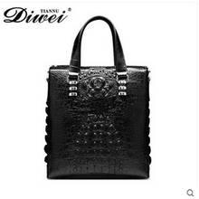 diwei 2017 new hot free shipping crocodile leather bag vertical briefcase computer bag business leisure traveler men handbag