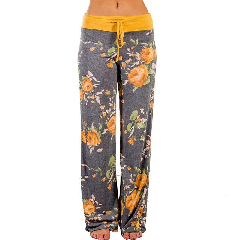 Casual Women Flower Print   Pants   Drawstring   Wide     Leg     Pants   Women Loose Straight Trousers Long Female Women Sweatpants Bottoms