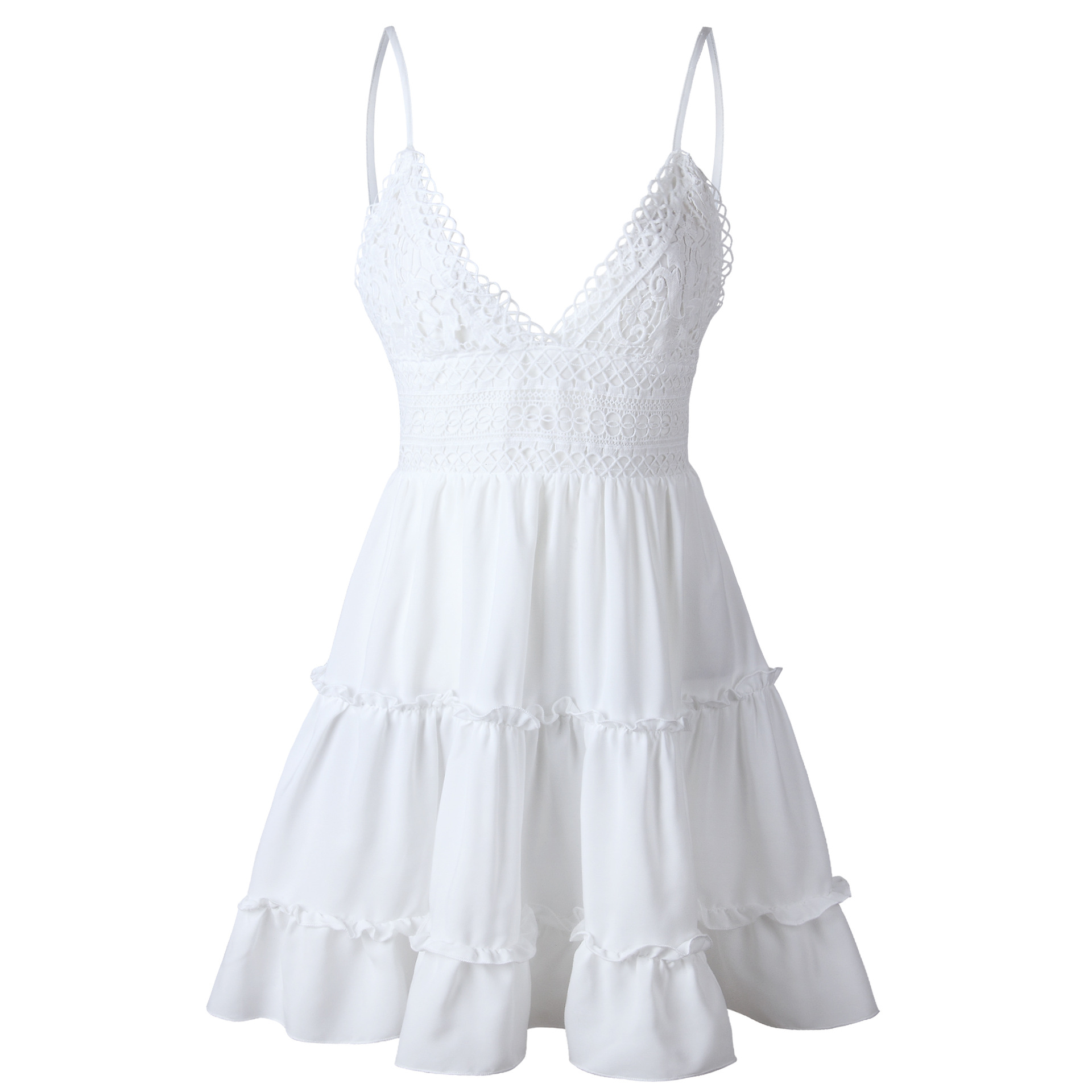 Summer Women Lace Dress Sexy Backless V neck Beach Dresses 2018 Fashion Sleeveless Spaghetti Strap White