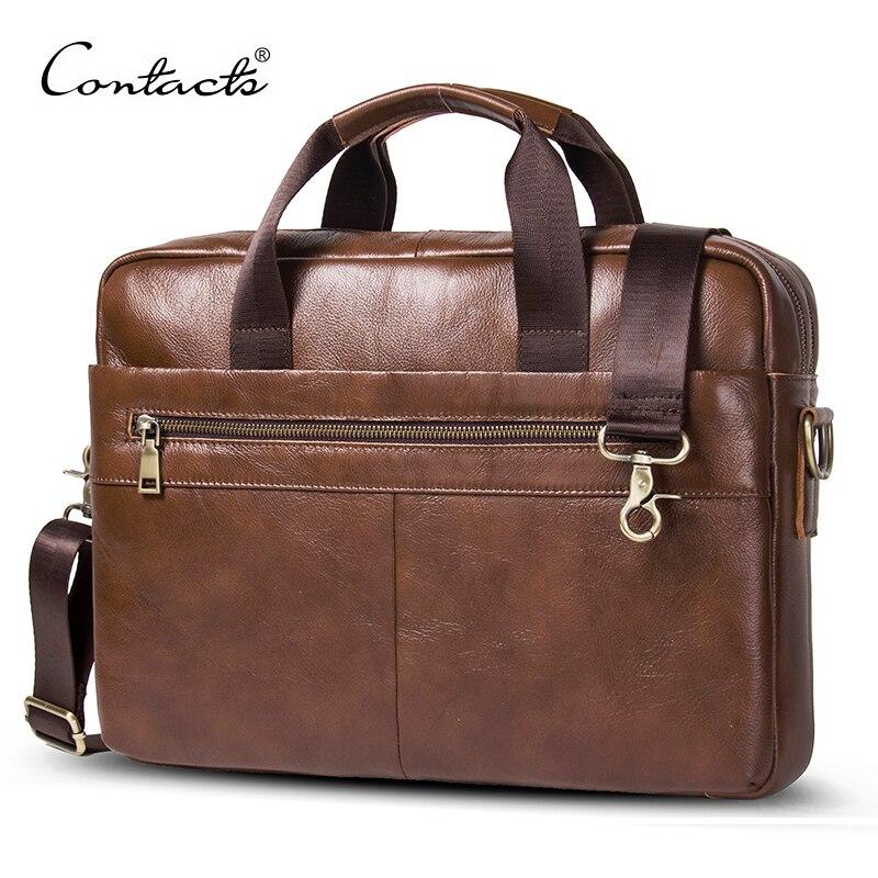 Контакта новый 100% пояса из натуральной кожи для мужчин's портфели для 14 деловая сумка для ноутбука мужской сумки на плечо bolso hombre сумка