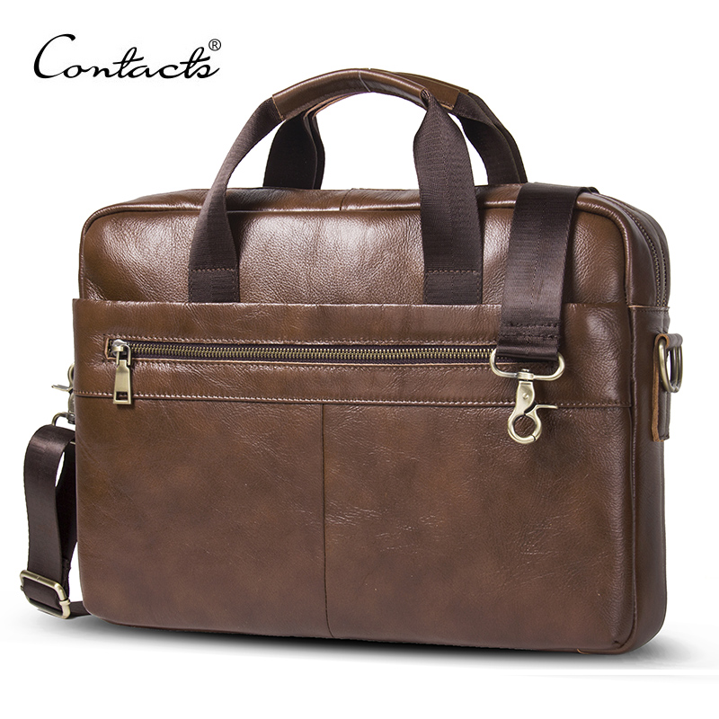 CONTACTS new 100% genuine leather mens briefcase for 14 laptop business bag male shoulder bags bolso hombre messenger bag CONTACTS new 100% genuine leather mens briefcase for 14 laptop business bag male shoulder bags bolso hombre messenger bag