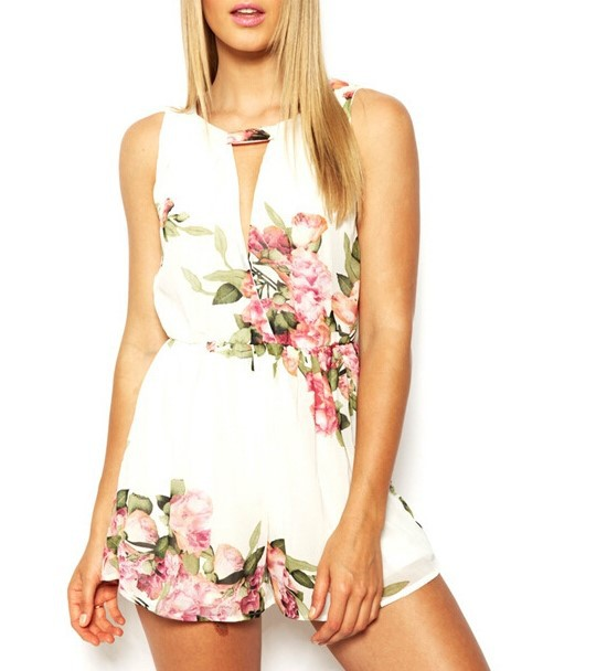 open back chiffon floral romper womens Summer playsuits jumpsuit 2020 summer cute feminino vestidos female overalls Clothing