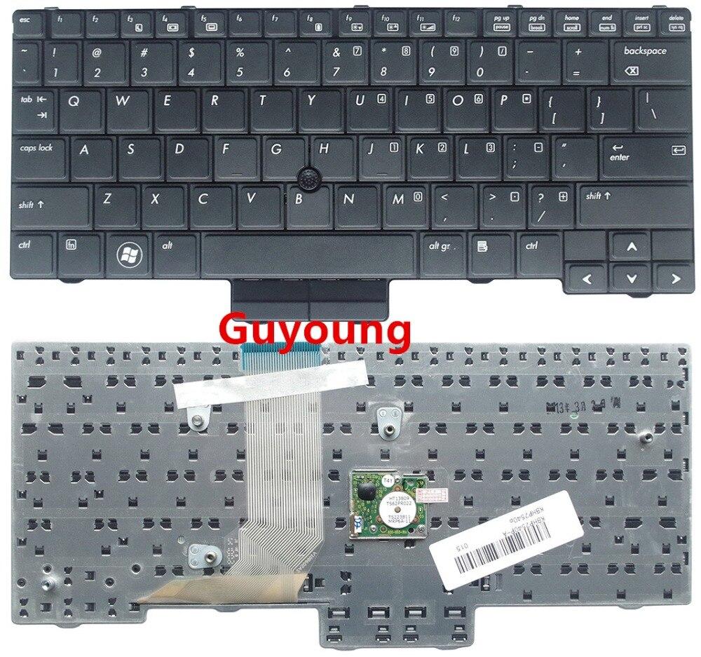 Черная клавиатура для ноутбука HP EliteBook 2540, 2540p, 598790-001, V108602AS1, PK1309C2A00, английская версия