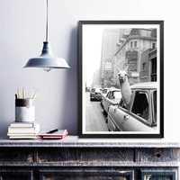 NOOG Llama en un taxi en Times Square lienzo impresión y póster Vintage llama impresión Ciudad de Nueva York Foto foto arte de la pared decoración del hogar