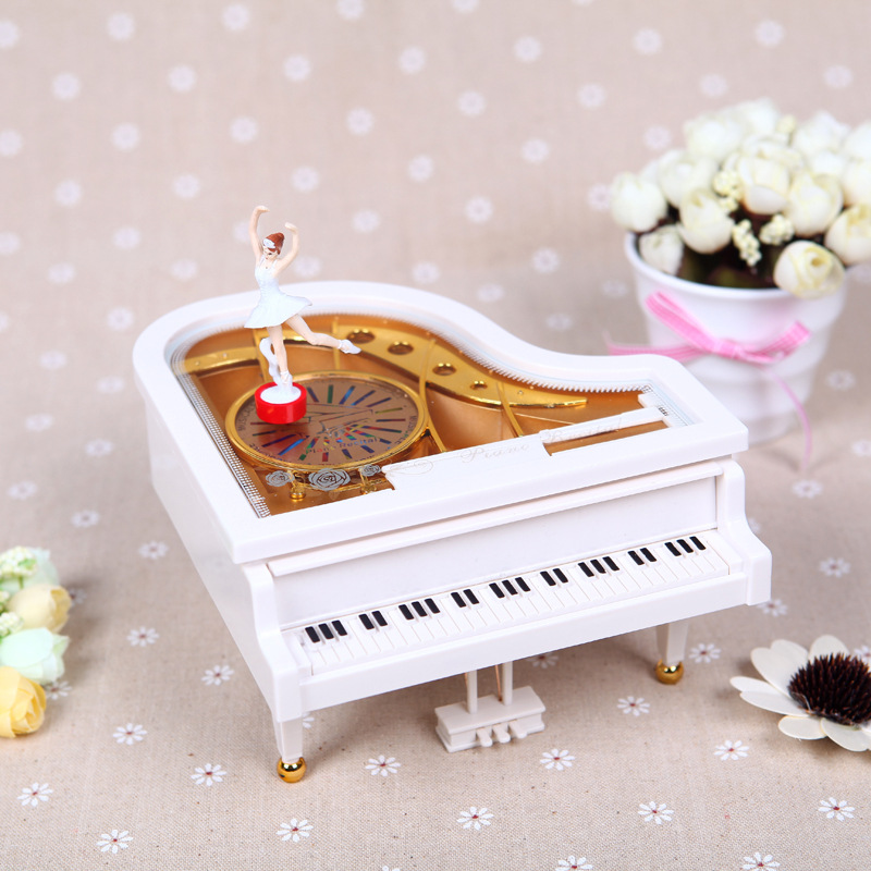 Gift Musical Box White Gold Piano Music Box Classical Day Gift Boutique with Dancing Girl Song to Alice @Z352