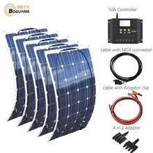 5*100w 500w flexible solar panel system MC4 cable solar connector adapter 50A controller for car power battery RV DIY system kit 500w off grid system complete kit 5 100w poly pv solar panel with 45a controller for 12v battery