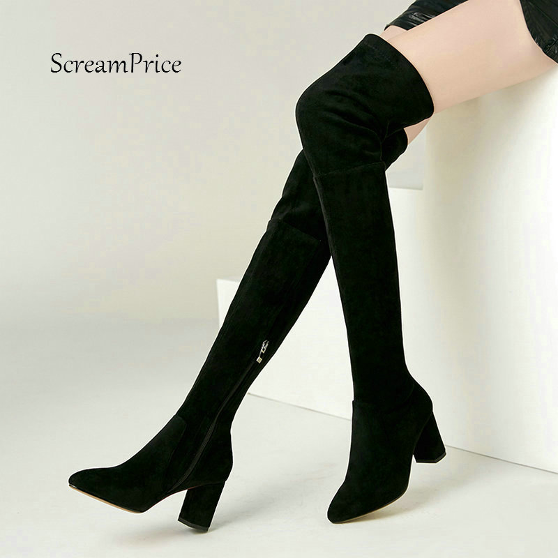 Women Suede Fashion Side Zipper Over The Knee Boots Comfortable Square Heel Thigh Elastic Boots Black