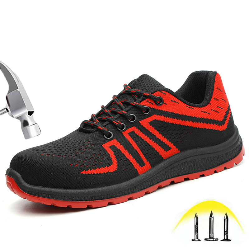 Work Steel Toe Shoes Men Safety Shoes Industrial Construction Lightweight Breathable Puncture Proof Sneakers Composite Toe Shoes