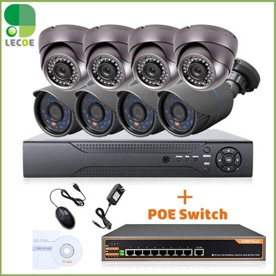 CCTV 8CH POE-säkerhetssystem / -sats med 8CH 1080P NVR, 8st 720P - Säkerhet och skydd
