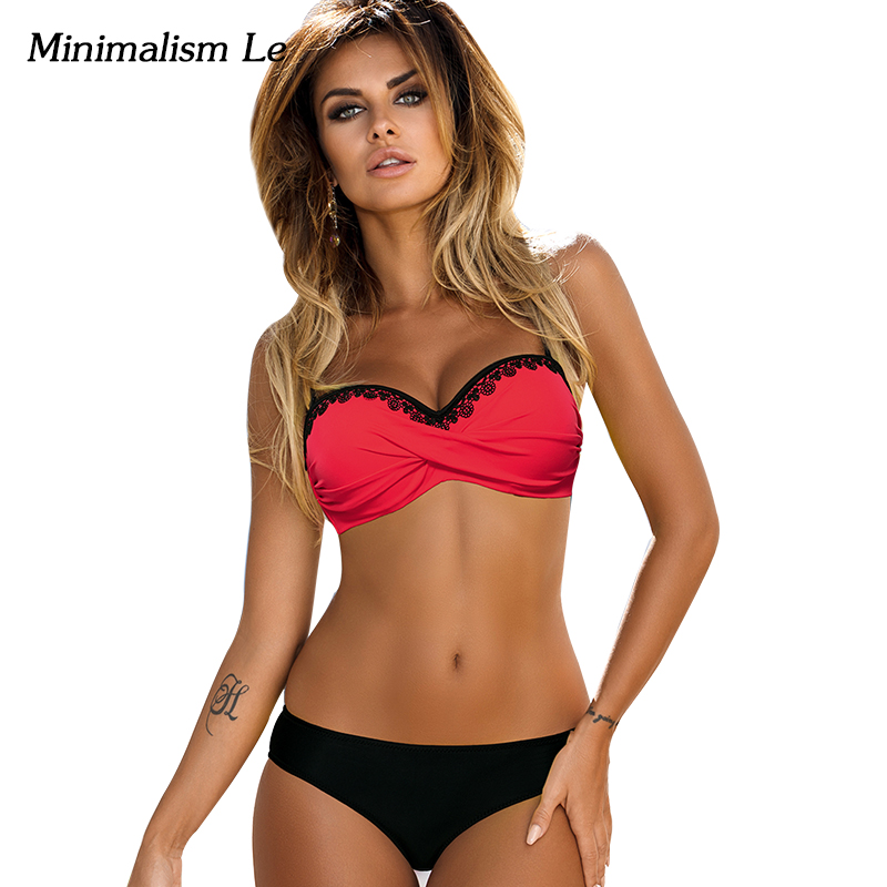 Minimalism Le Lace Patchwork Bikini Sexy Plus Size Push Up Swimwear Women Bathing Suit Solid Bikini Set 2018 New Swimsuit BK764 lace up plain bikini set