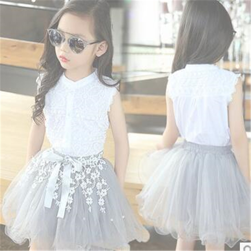 Kids girls Sleeveless suit new summer children's cotton casual T-shirt big virgin two pieces skirt girl clothes 2-12 years le suit new vanilla textured straight skirt 12 $89 dbfl