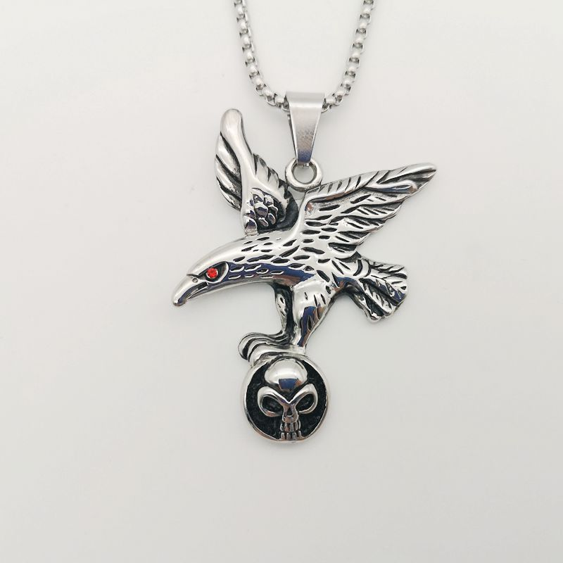 New men 39 s hip hop Necklace antique Stainless Steel Necklace Flying Eagle Hawk Skull Pendant Necklace chokers Necklace BLKN0008 in Pendant Necklaces from Jewelry amp Accessories