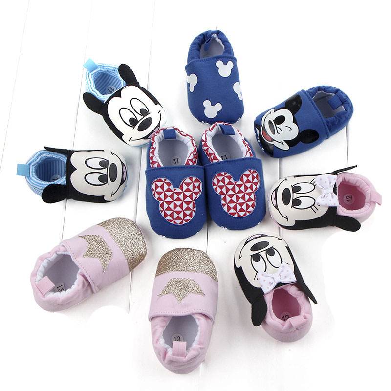 Hot Sales Baby Cartoon Mouse Shoes Boys Fashion Non-Slip Sole First Walkers Girls Cute Crown Shoes Infants Newborn Toddler Shoes