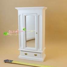 MINI Doll house Mini furniture bedroom Chinese retro mirror cabinet wardrobe oak