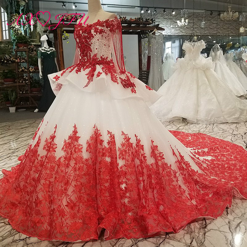 AXJFU white lace princess red flower beading crystal ruffles vintage wedding dress luxury long pearls wedding dress 05410Wedding Dresses   -