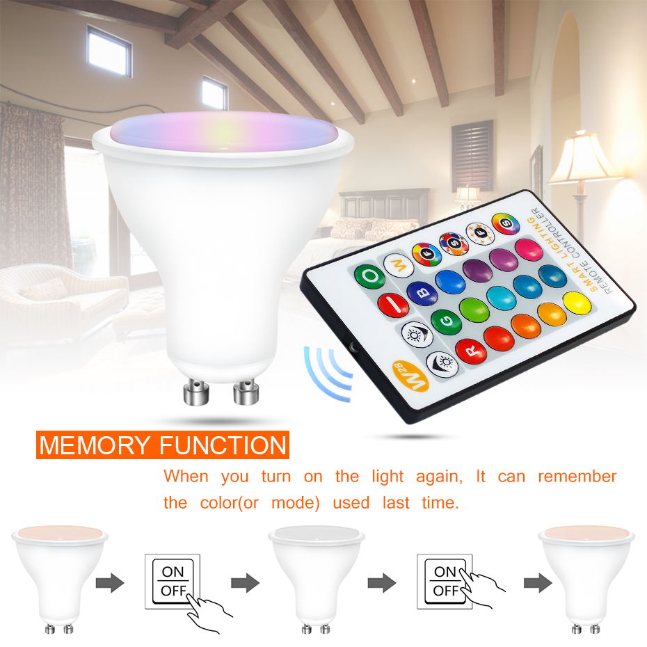 Newest LED Lamp GU10 RGB LED Bulb 8W RGBW RGBWW Dimmable Ampoule LED Lights For Home Holiday Decoration With Remote Controller