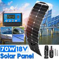 70W Solar Panel Solar Battery+10/20/30/40/50A PWM Regulator Controller Solar System Kits for Light Charger Fishing Boat Camping