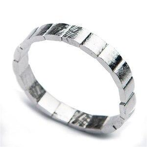 Image 3 - Echte Natürliche Gibeon Eisen Meteorit Silber Überzogene Rechteck Perlen Frauen Mann Armband