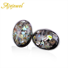 Ajojewel 2016 New Arrival Top Quality Big Oval Stone Shell Silver Stud font b Earrings b