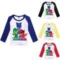 PJMASKS outono Miúdos Dos Desenhos Animados T-shirt Das Meninas Dos Meninos Manga Comprida Tops Camisolas T-shirt Pulôver de Algodão Trajes Do Natal para Meninos