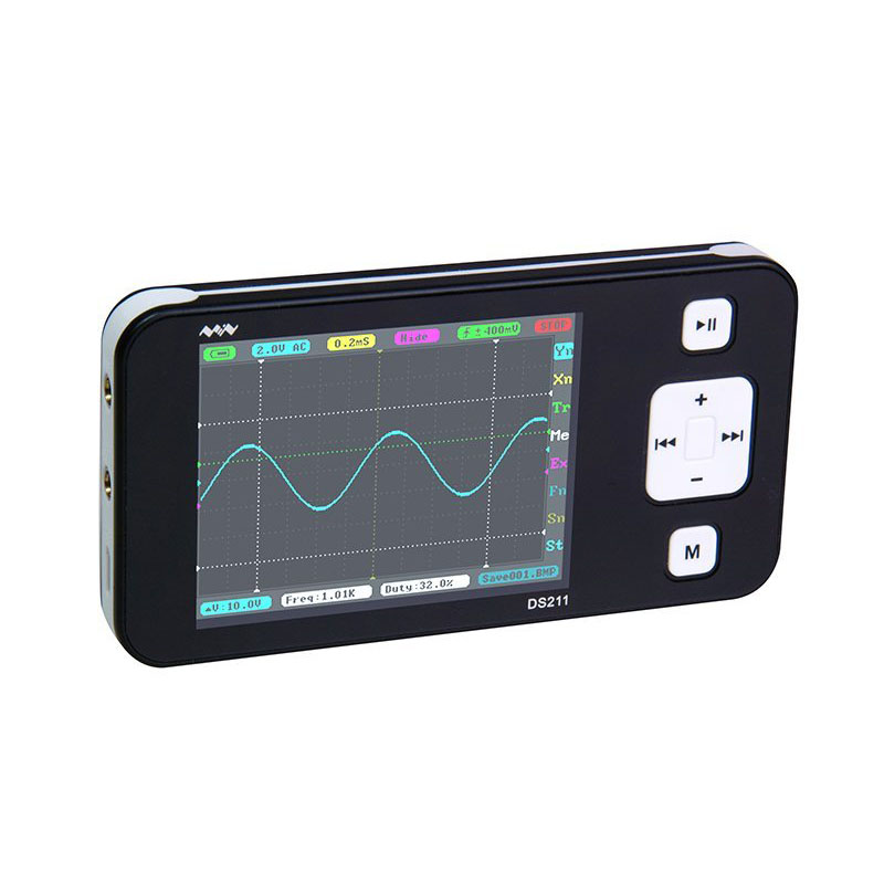Mini DSO211 Nano ARM Pocket Size Tenuto In Mano Portatile Schermo LCD Oscilloscopio a memoria Digitale 8 MB di Memoria di Archiviazione NeroMini DSO211 Nano ARM Pocket Size Tenuto In Mano Portatile Schermo LCD Oscilloscopio a memoria Digitale 8 MB di Memoria di Archiviazione Nero