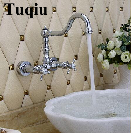 New arrival top high quality chrome brass wall mounted Europe style Hot and Cold bathroom sink faucet basin tap free shipping high quality chrome finished brass in wall bathroom basin faucet brief sink faucet bf019
