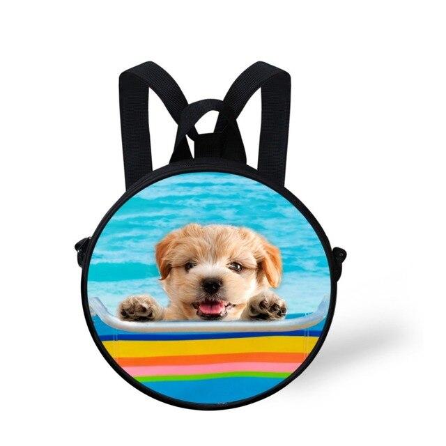 Kawaii Маленькие Круглые Школьные Сумки для Девочки Мальчики 3D Собака Печать Мини-Рюкзак Школьный Детский сад Книга Bagss