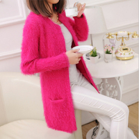 2016 Autumn Winter Women Pockets Warm Knitwear Sweater Female Long Sleeve Medium Long Mohair Cardigan Outerwear