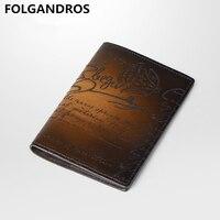 Brand Men's Handmade Card Holder Wallet Genuine Leather Passport Cover Italy Designer Love Letter Money Case Credit Card Holder