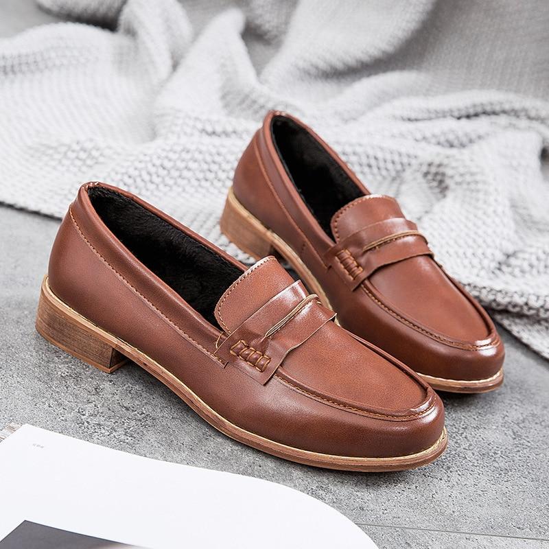 Style chocolat Femmes Sauvages Confortable Printemps Nouvelle Chaussures Simple Noir Unie Casual Couleur Rétro Mode 2019 6zwpSn