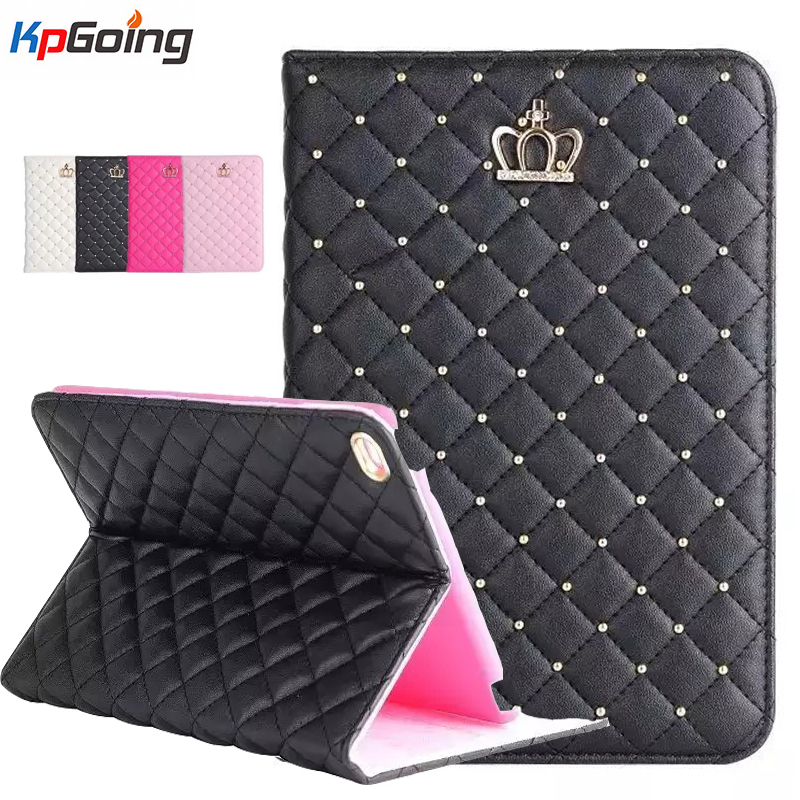 Fashion Crown Rhinestones Glitter Bling PU Leather Case for Ipad 2 3 4 Flip Stand Cover Shell for Ipad 4 Tablets Case Cover Pink