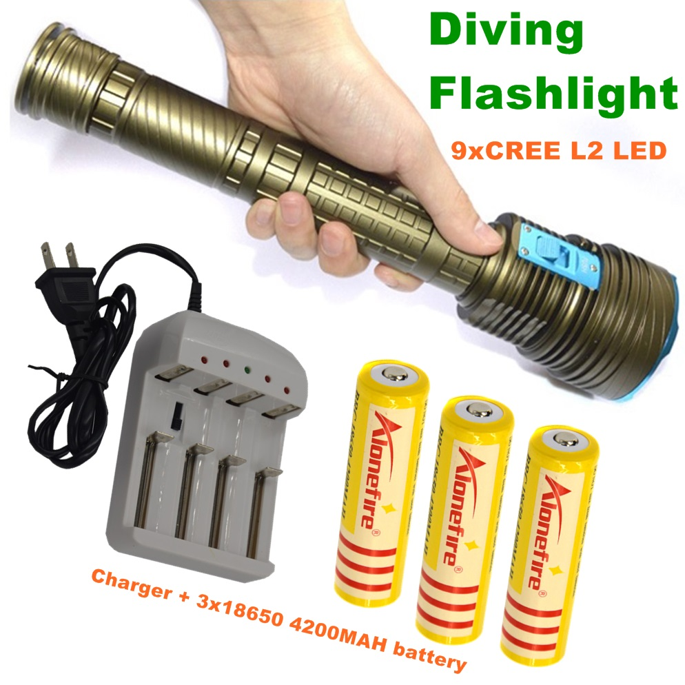 21000LM Underwater diving flashlight CREE L2 Waterproof 9L2 Dive Torch for diving+18650 Rechargeable batteries+Charger DX9S 1SET ru zk30 cree xm l2 diving led flashlight 5000lm zoomable torch lantern dive waterproof underwater 120m military grade flashlight